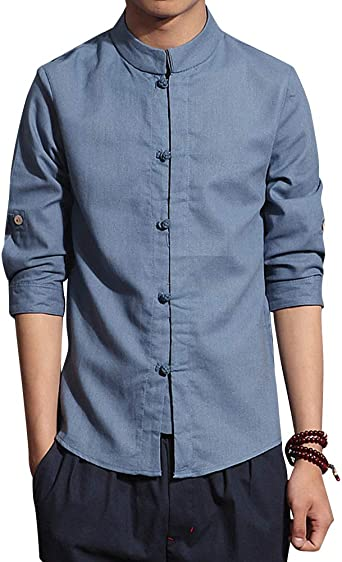 Mengmiao Slim Fit Estilo Chino Hombre Collar de Pie Casual La Camisa: Amazon.es: Ropa y accesorios