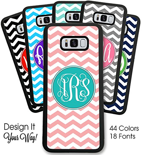 Simply Customized Case Compatible with Samsung Galaxy S8 Plus Personalized Monogram Chevron - Hard Rubber Case