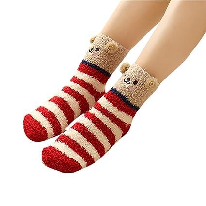 2bb5457d3f22 SUKEQ Christmas Socks, Womens Winter Warm Novelty Crew Socks Fuzzy Slipper Socks  Girls Cozy Funny