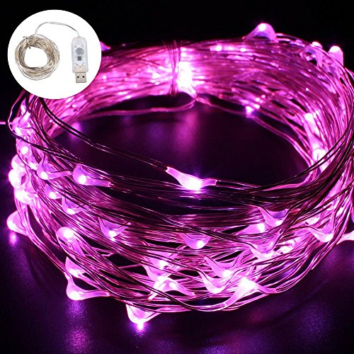 FOONEE USD Fairy Lights Battery Operated Curtain String Light 100 LED for Wedding, Christmas, Home Bedroom Wall Decoration, Garden Party Indoor and Outdoor Wall Decorations(Pink Purple)