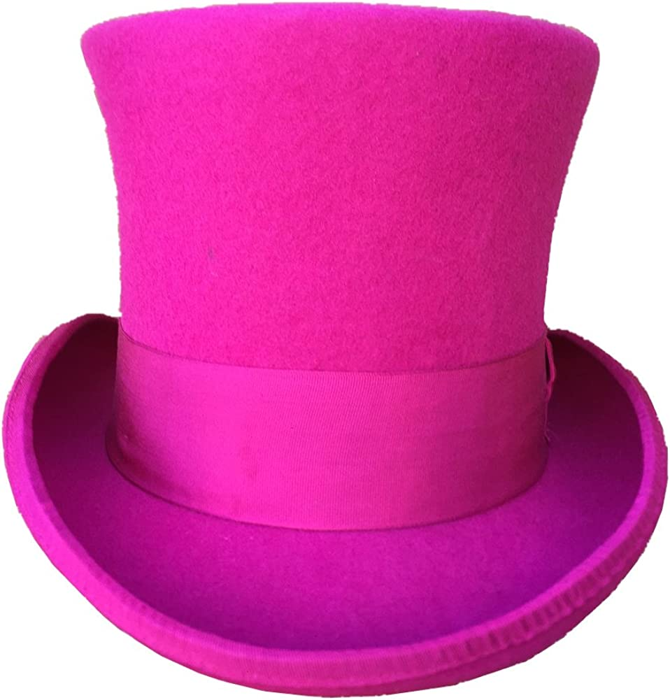 Amazon Com Rose Pink Wool Felt Top Hat Steampunk Women Men Wedding Gentlemen Topper Hats 7 Tall Clothing