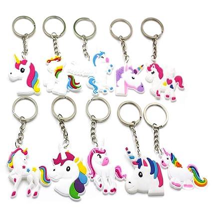 Haodou 10 Unids DIY Lindo Animal Llaveros Kawaii Rainbow Unicorn Llavero Rhinestone Llavero de Metal Regalo de Año Nuevo Infancia Chrastmas Licorne