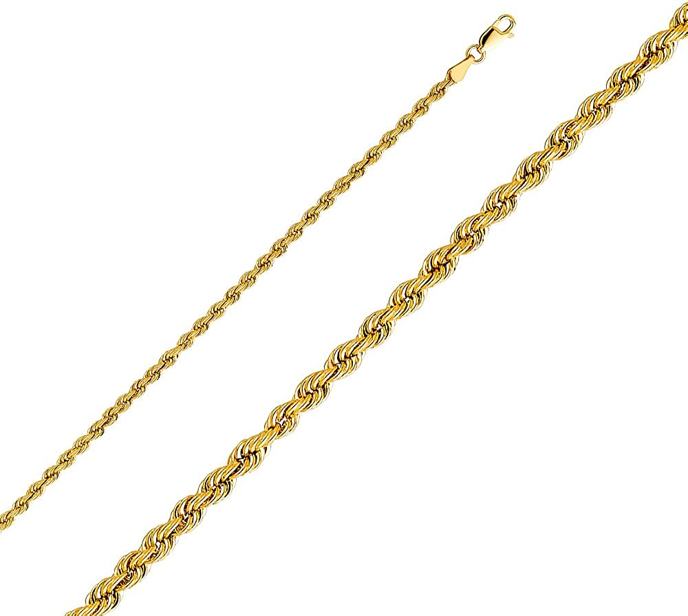 14K Yellow Gold 3mm Hollow Rope Chain Necklace with Lobster Clasp Ioka