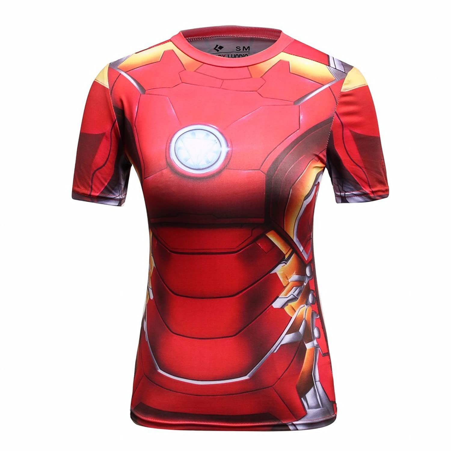 Red Plume Women's Compression Sports Short-sleeve T-shirt, Iron Hero Top