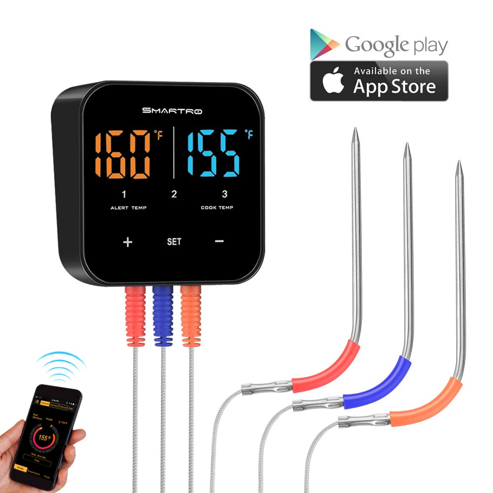 SMARTRO ST55 Wireless Digital Meat Thermometer for Oven Grill Kitchen Food Cooking Smoker BBQ with 3 Probes by SMARTRO