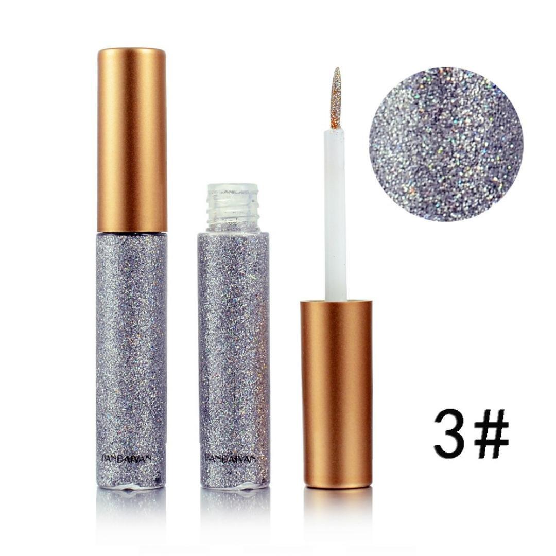 Xshuai Femme Lady métallique brillant Smoky Eyes Fard à paupières waterproof Eyeliner liquide brillant clignotant, #2, Size:10.8*3.5*3.5cm