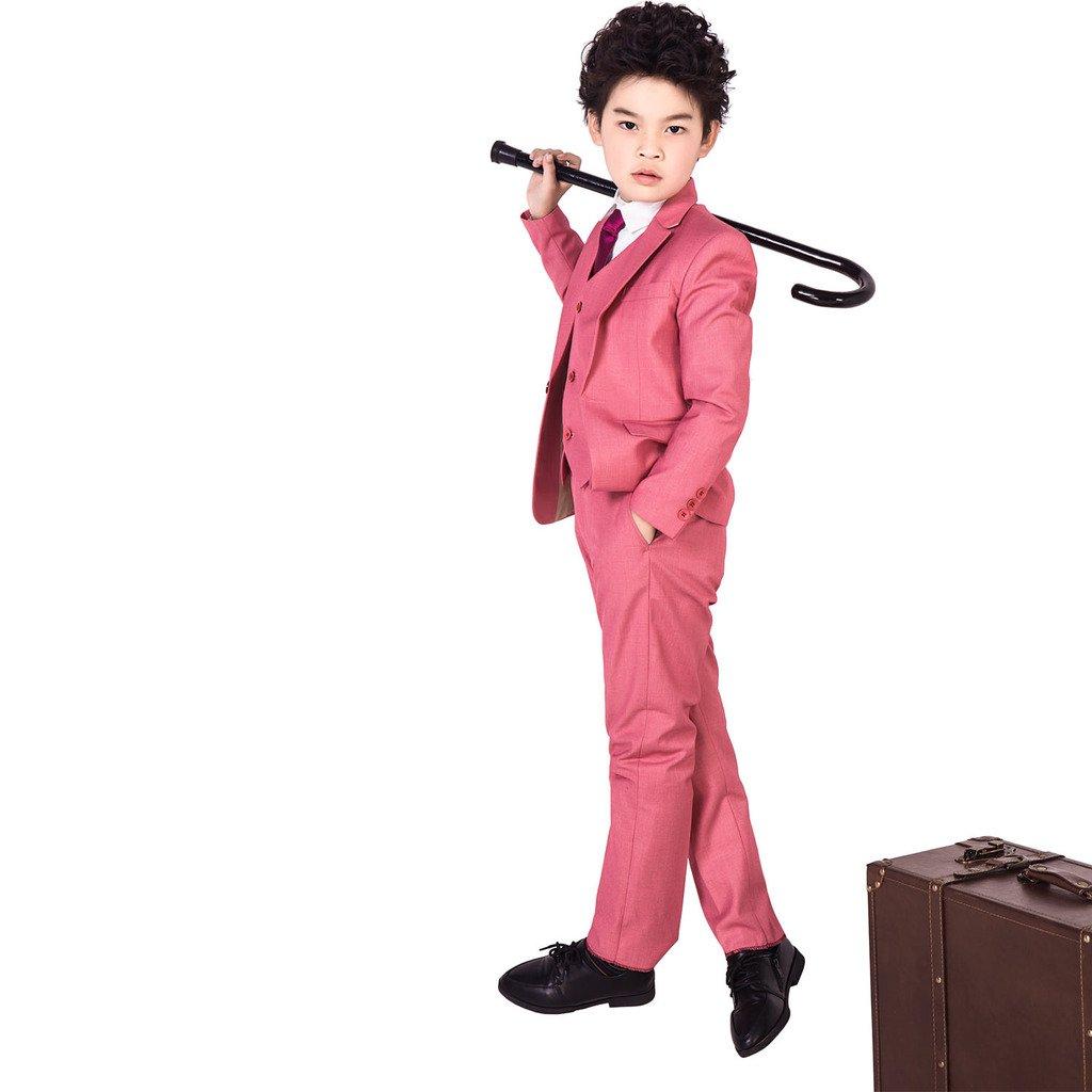 XoMoFlag Boys Wedding Flower Kids Formal Suit Host Stage Performance Wear Red