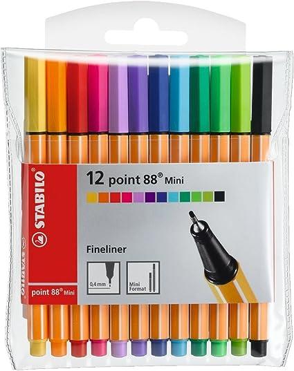 Rotulador puntafina STABILO point 88 mini - Estuche con 12 colores ...