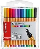 Stylo feutre pointe fine - STABILO point 88 Mini - Pochette de 12 stylos-feutres - Coloris assortis