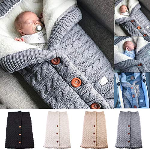 (Newborn Baby Swaddle Blanket Fleece Stroller Wrap Nap Blanket Plus Velvet,Baby Kids Toddler Thick Knit Soft Warm Blanket Swaddle Sleeping Bag Sleep Sack Stroller)