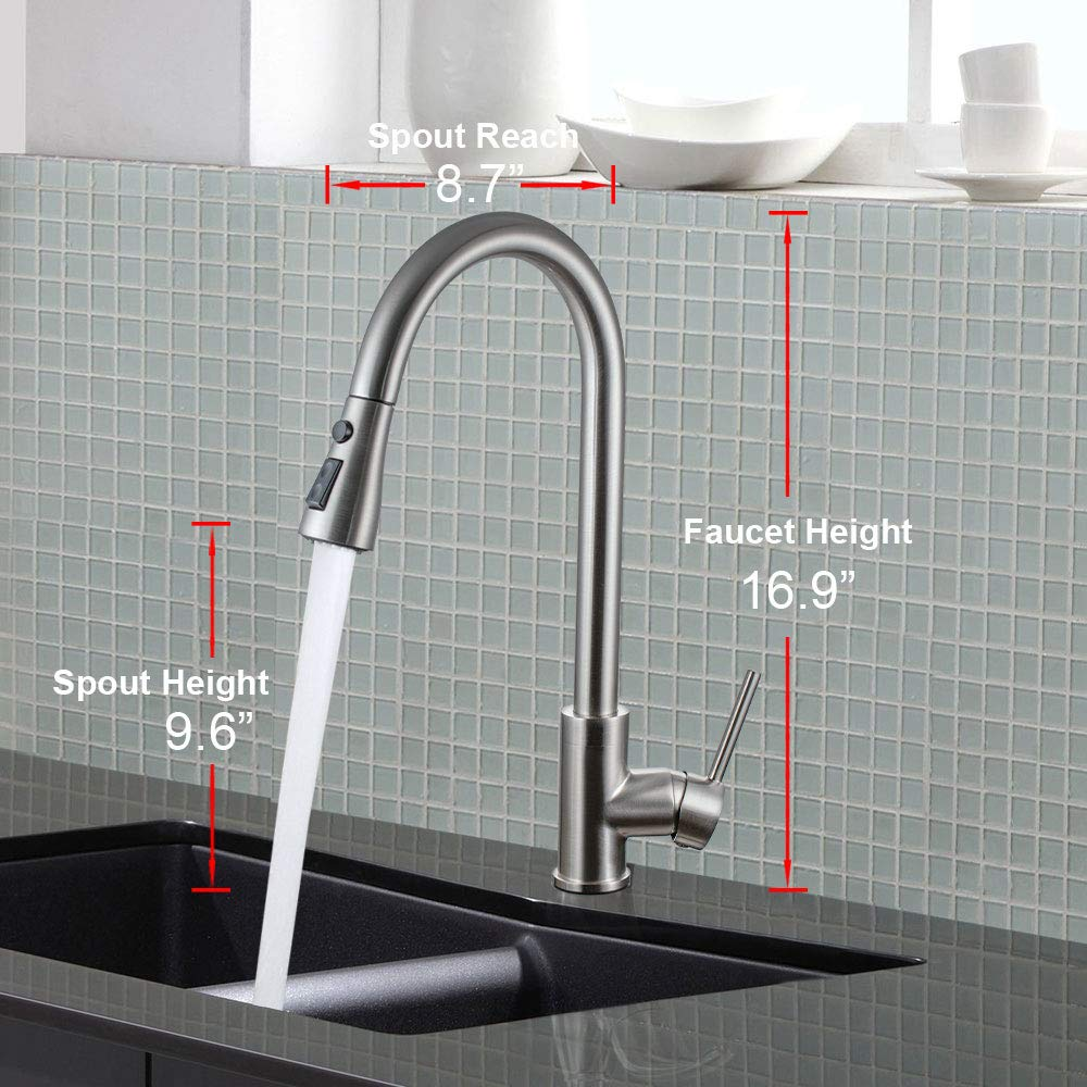 Moone Commercial Single Handle Kitchen Faucet Pull Down Sprayer Brass Body Pull Out Spray Kitchen Sink Faucets Stainless Steel Brushed Nickel by Moone (Image #6)