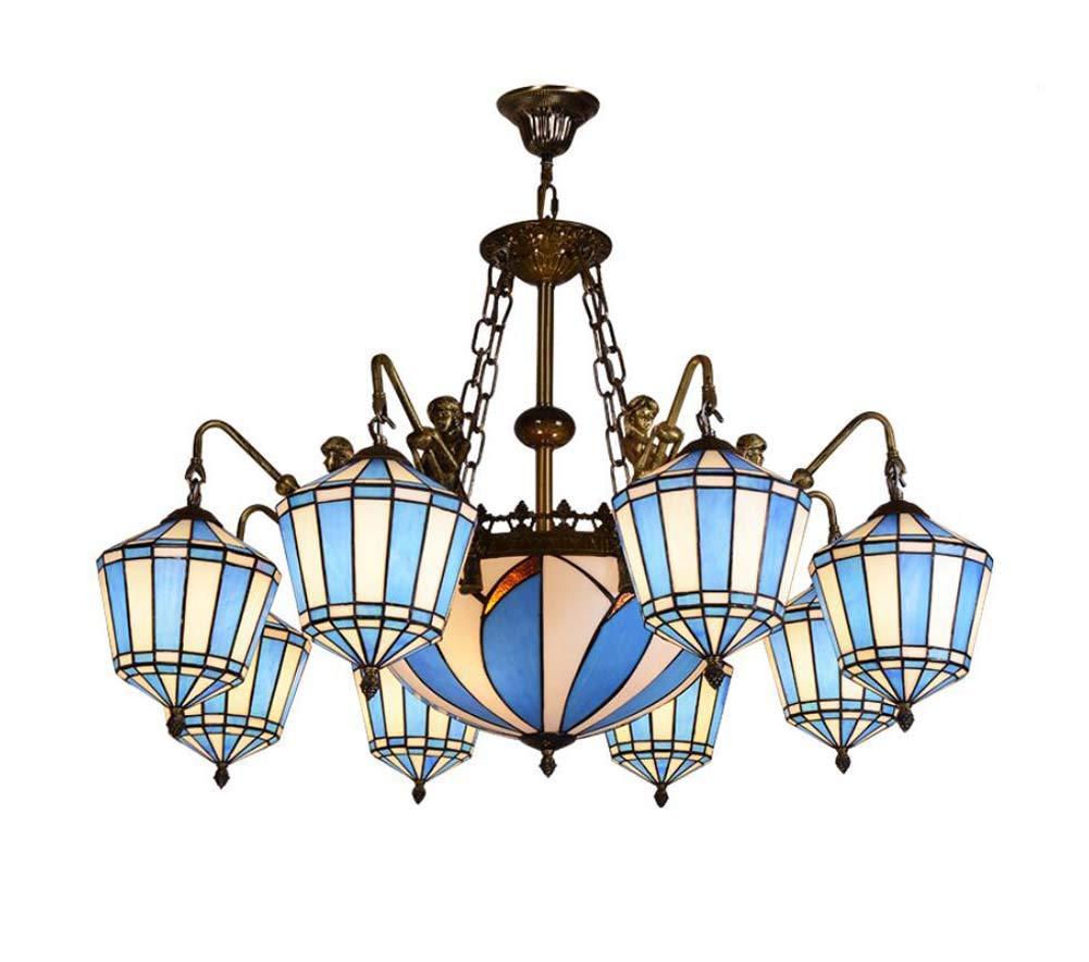 ティファニースタイルシャンデリアヨーロッパスタイルリビングルームベッドルームヴィラ装飾ステンドグラスペンダントライト、天井灯 B07HVTQ3QZ