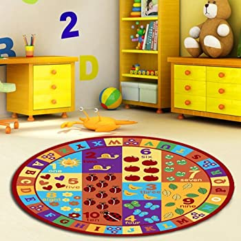 Furnish My Place Kids ABC Area Rug Educational Alphabet Letter U0026 Numbers  Multicolor Actual Size Anti