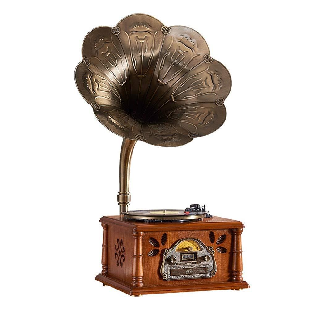 レトロ ブルートゥーススピーカー, レトロホーンターンテーブルブルートゥースビニールレコードプレーヤーターンテーブル銅トランペット音楽機レコードマシンヴィンテージ蓄音機レコードプレーヤーブルートゥーススピーカーブルートゥースホームターンテーブルターンテーブルターンテーブルギフト 高感度 重低音 (色 : 褐色, サイズ : A) B07S5PK6Y3 褐色 A