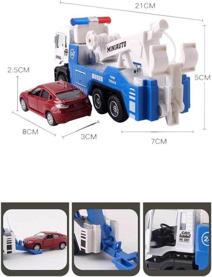 Blanc Bleu Cavis Ensemble de Remorquage en Alliage Moul/é sous Pression T/êTe de Voiture Lumi/èRes de Voiture et Son Jouet de Fonction 1 Truck Plus 1 Petite Voiture