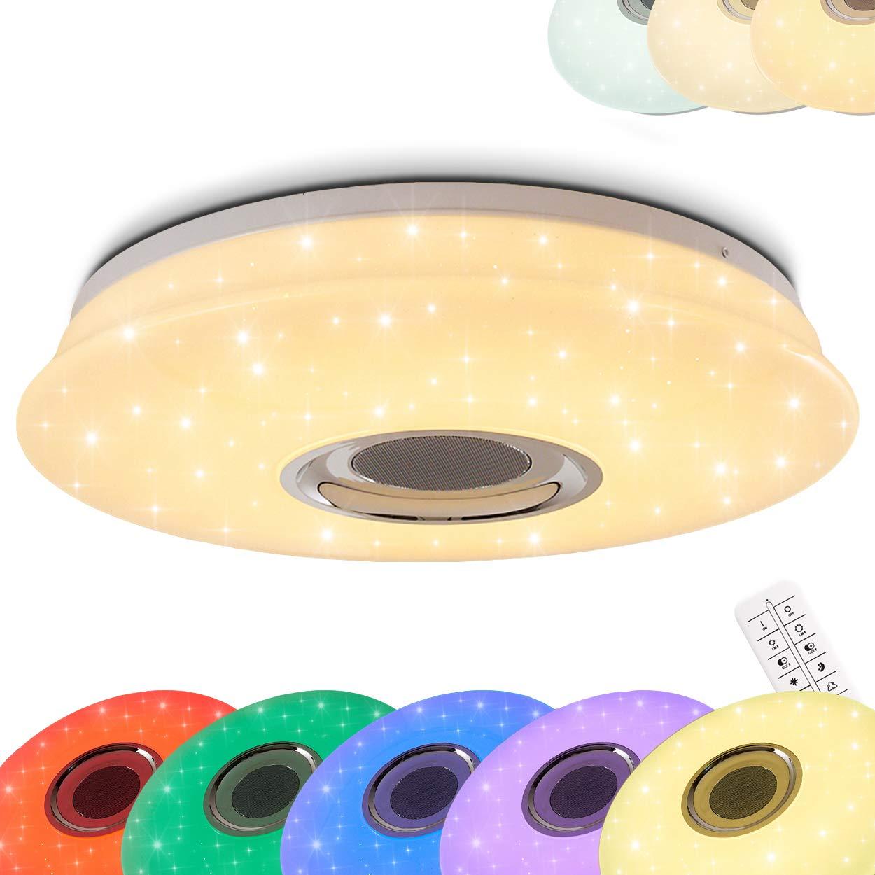 Runde LED Deckenleuchte Hemlo mit Sternen - inkl. RGB Farbwechsler und Bluetooth Lautsprecher - Deckenspot mit Fernbedienung und farbigem Licht - 3000 Kelvin - 1400 Lumen - [Energieklasse A+] hofstein H3001332