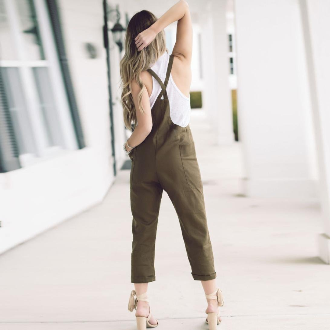 6a52621fd9db Amazon.com  Goodtrade8 Womens Casual Loose Cotton Bib Overalls Jumpsuit  Pants Plus Size Romper Pants Legging  Shoes