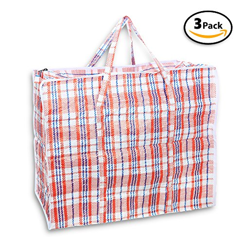 Jumbo Tote Reusable Shopping Bag. Pack of 3. Color May Vary