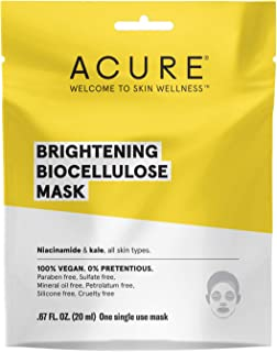 product image for Acure Brightening Biocellulose Gel Mask | 100% Vegan | For A Brighter Appearance | Niacinamide & Kale - Vitamin B3 |One Single Use | All Skin Types |1 Count