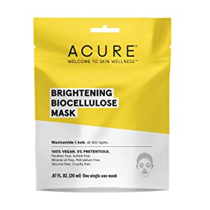 ACURE Brightening Biocellulose Gel Mask | 100% Vegan| For A Brighter Appearance | Niacinamide & Kale - Vitamin B3 | One Single Use | All Skin Types | 5 Pack