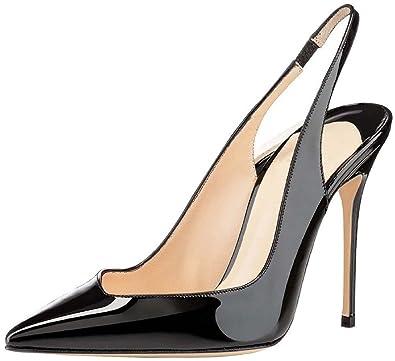 Kolnoo 100mm Damen Slingback Pumps Suede Schuhe Schwarz Größe EU37 aImF3au