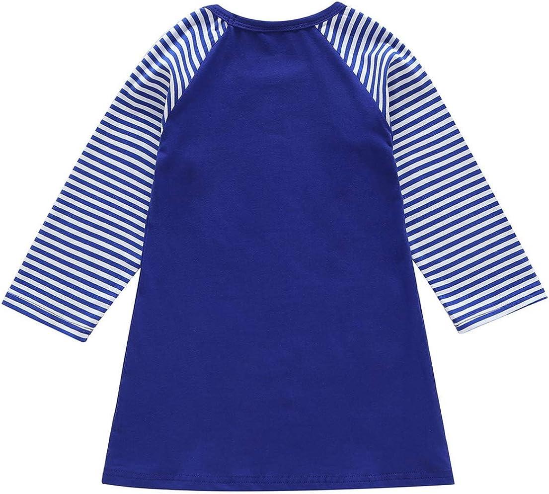 DEMU M/ädchen Kleid T-Shirt Blusekleid Prinzessin Baby Langarm Outfits Pullover Pferd Druck