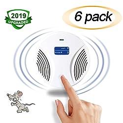 NaDrn Répulsif Ultrason Rats, Répulsif Ultrason Anti-nuisible/Insectes/Rongeurs/Souris/Moustique, Portable Répulsif - Rechargeable Répulsif - avec écran LCD - Mise à Niveau 2019,6Pack