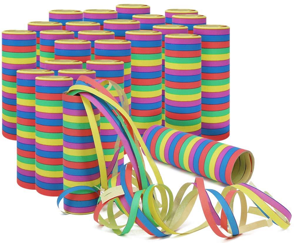 com-four/® 10 Rollos de serpentinas 10 Piezas - metalicas serpentinas Decorativas en Plata y Rosa