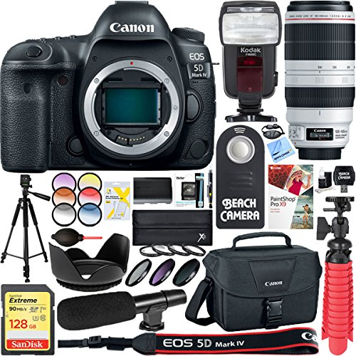 30.4 MP Digital SLR Camera with EF 100-400mm IS II USM Lens + 128GB SDXC Memory Card & Microphone Deluxe Filter Bundle (Expandable Media Frame)