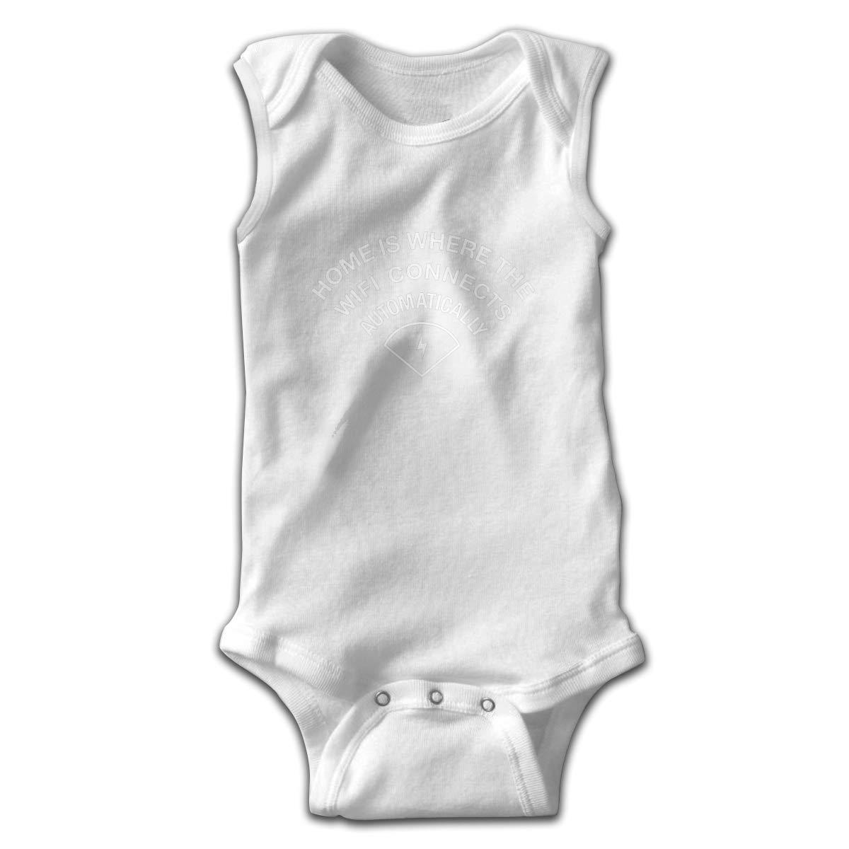 Dunpaiaa Home is WiFi Connects Smalls Baby Onesie,Infant Bodysuit Black
