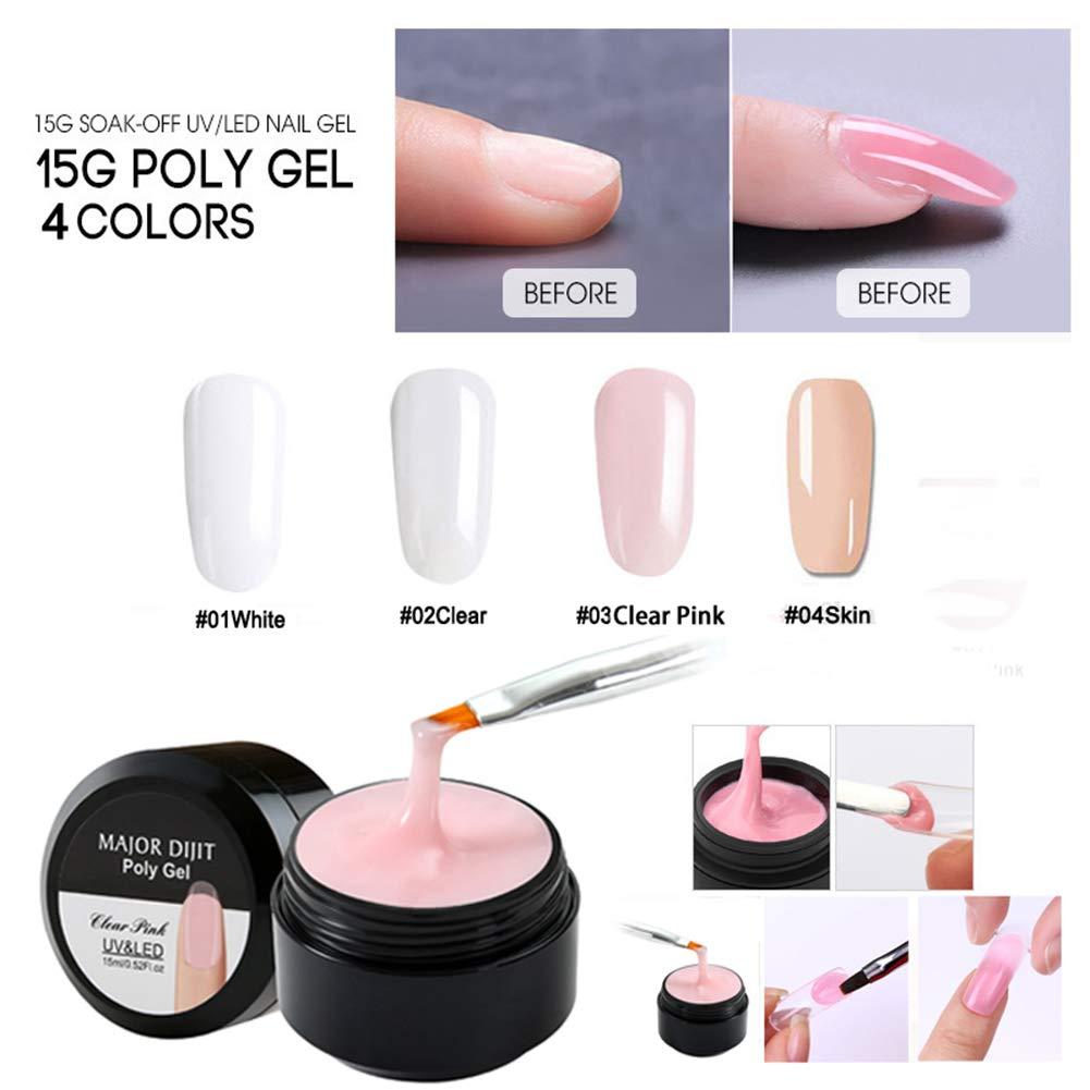 4 Pcs Nail Builder Poly Gel Quick Building Nail Tips Extension Glue Nail Art Tool, Needs UV LED Lights by RedDhong