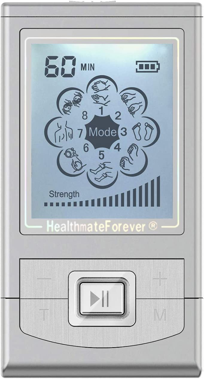 FDA Cleared TENS Unit NK8ML (Silver) 8 Modes HealthmateForever Palm Massage Pro| Mini Pain Relief Body Massager for Shoulder Muscle Soreness Joint Lower Back Pain Relief