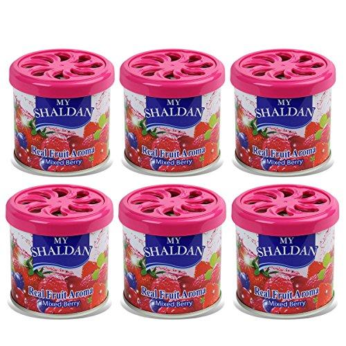 (Pack of 6) My Shaldan Japanese Car Natural Air Freshener Cans (Mixed Berry)