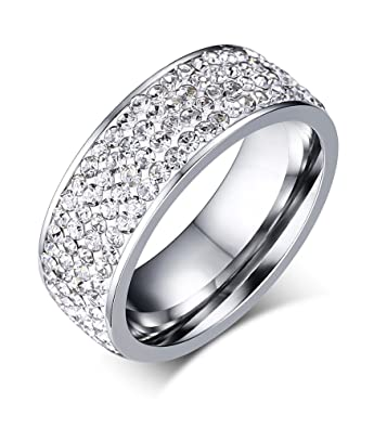 Amazon.com: 7 mm. Anillo de acero inoxidable con brillantes ...