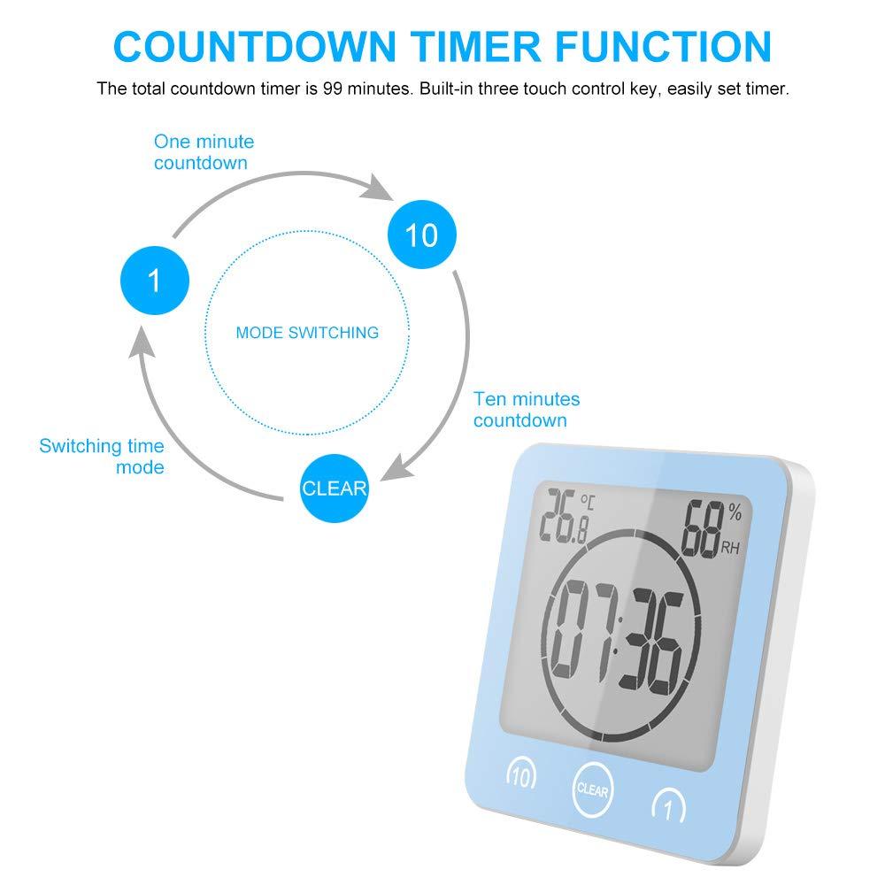SOOTOP Horloge /À Minuterie Douche Alarme Horloge Num/érique Mur DAspiration Salle De Bain /Étanche Thermom/ètre Int/érieur Hygrom/ètre