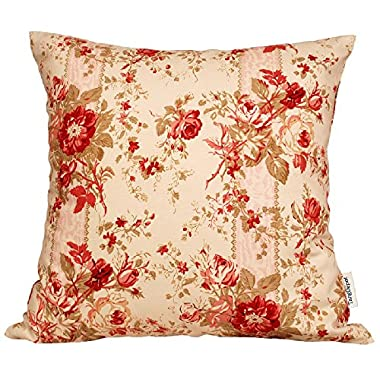 TangDepot® 100% Cotton Floral/Flower Printcloth Decorative Throw Pillow Covers /Handmade Pillow Shams - Many Colors, Sizes Avaliable - (18 x18 , S21 Pink Rosebush)