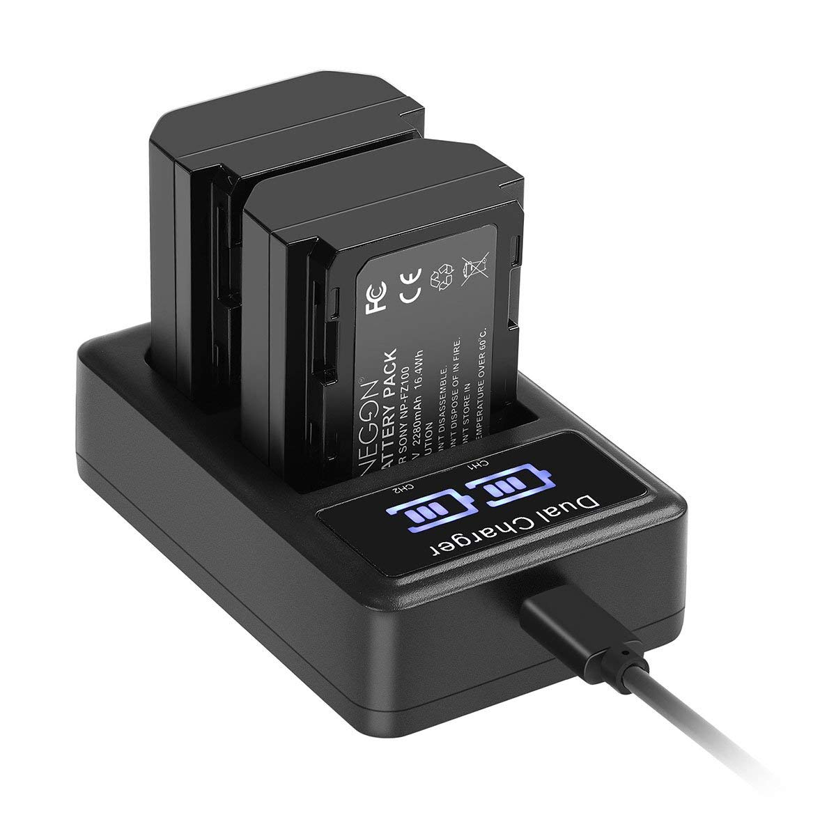 Batería de Repuesto ENEGON (Paquete de 2) y Smart LED Cargador Dual USB para Sony NP-FZ100 y Sony Alpha 9 / 9S / 9R, Sony A9 / A9R, Sony A7R III A7R3, ...