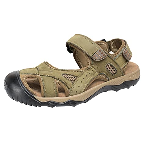 9992259e7 Aiyuda Men s Leather Sandals Closed Toe Fisherman Sport Sandal Water Shoes  for Outdoor Hiking Walking the