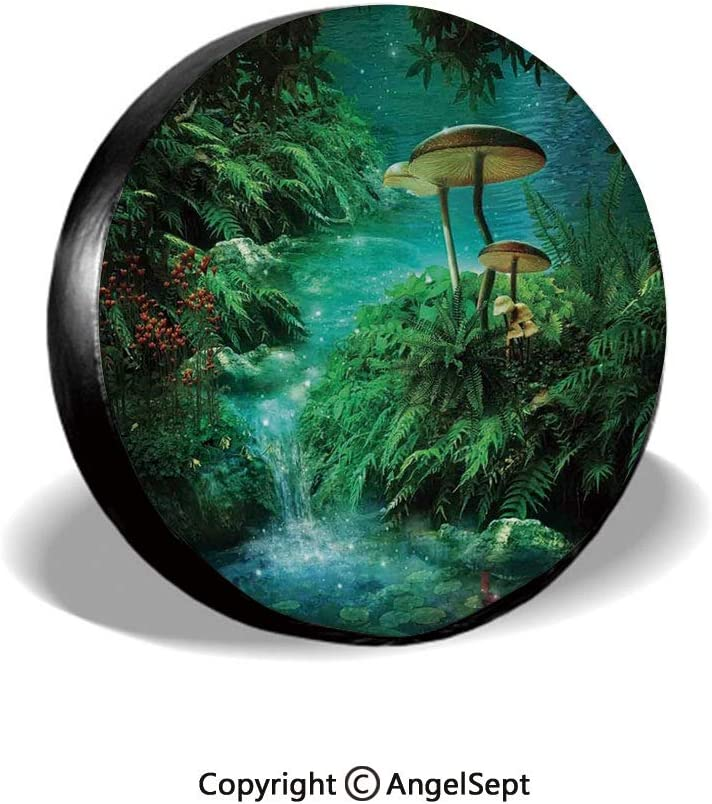 SUV and Many Vehicle 14 15 16 17 RV Spare Tire Cover,View of Fantasy River with a Pond Fish and Mushroom in Jungle Trees Moss Eden,Green Teal Red,for Jeep,Trailer