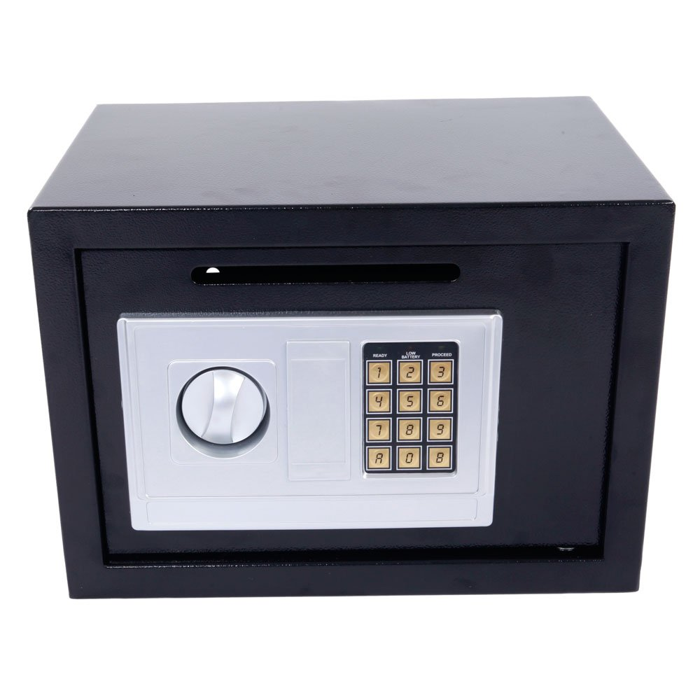 Leadzm Security Box Electronic Digital Lock Steel Safe Strongbox ,Storage Cash Jewelry Document Gun Safe,Theft Proof,For Household Secret Office Travel(Black DS25EA)