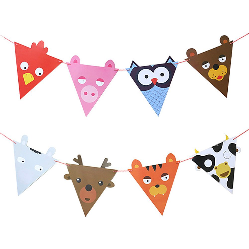 Riverbyland Pack Of 10 Colorful Animal Party Banner