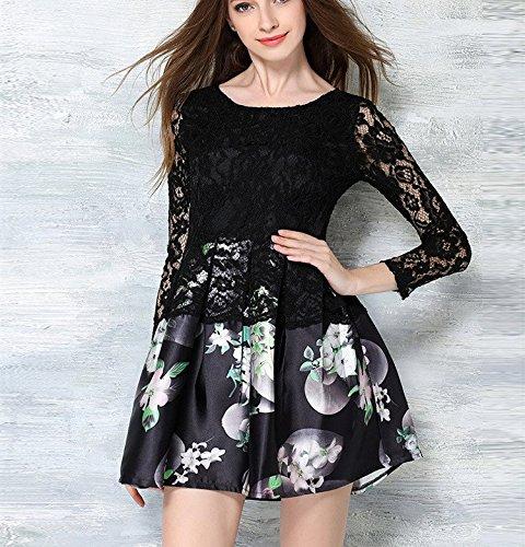 Chic Female Long Black Bobbycool Crewneck Slim Dress Sleeved Lace dqBwTTWnR6