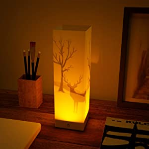 ABZON Dimmable Deer Night Light Bedside Night Lamp Touch Sensor 3D Pattern, Decor for Bedroom,Battery or USB Powered.