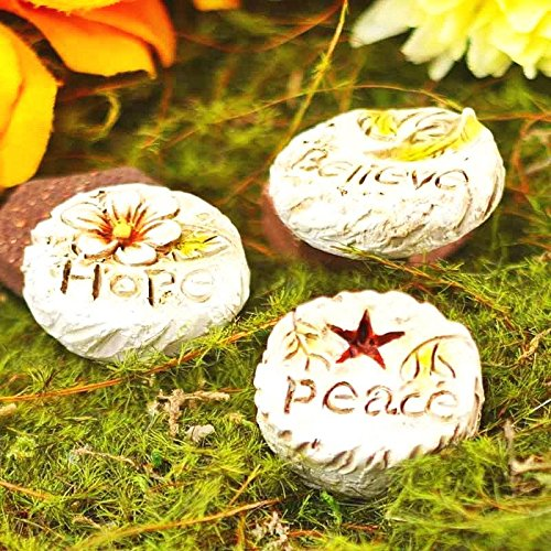 Miniature Dollhouse Fairy Garden Hope, Peace & Believe Stepping Stones-Set of 3My Mini Garden Dollhouse Accessories for Outdoor or House ()