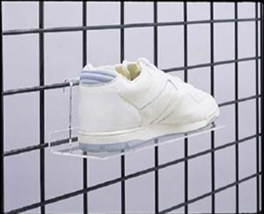 Gridwall Grid Acrylic Shoe Shelves 10'' x 4'' Retail Display Fixture Lot of 24 NEW