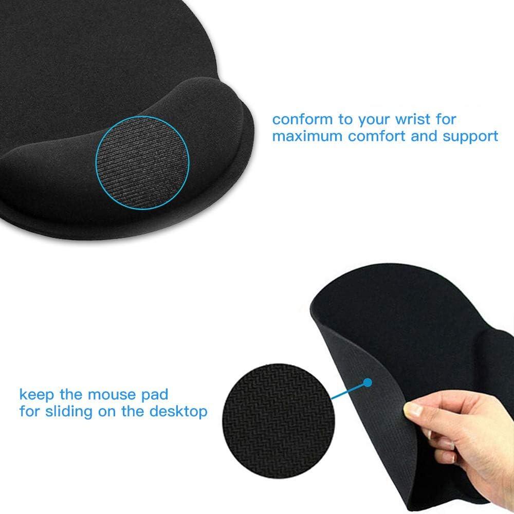 HTFY Tappetino per Mouse e Tastiera in Gel con Poggiapolsi Base in Gomma Antiscivolo per PC,Notebook e Laptop