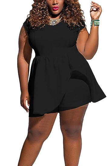 5dd5b3cf4d4 Yacun Women s Cap Sleeve Culotte Jumpsuit Short Pants Plus Size Black L