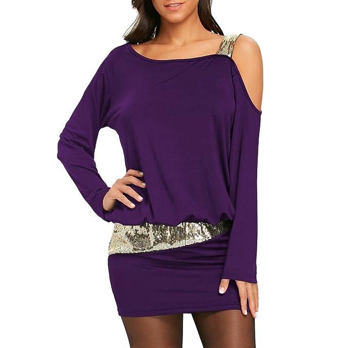 BBestseller vestidos casuales mujer, moda mujeres Sexy Strapless Mini vestido de lentejuelas Bling blusa hombro