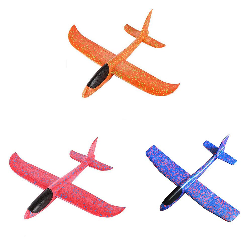 TiTa-Dong 3Pcs Foam Airplane, Throwing Glider Air Plane Inertia Aircraft Hand Launch Airplane Model Outdoor Sports Flying Toy Birthday Gift Party Favors for Kids Girls Boys,18 inches,Blue+Red+Orange