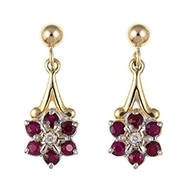 ebea9a6c7 New Ladies 9ct Yellow Gold Ruby & Diamond Daisy Drop Earrings AP1052: Amazon .co.uk: Jewellery